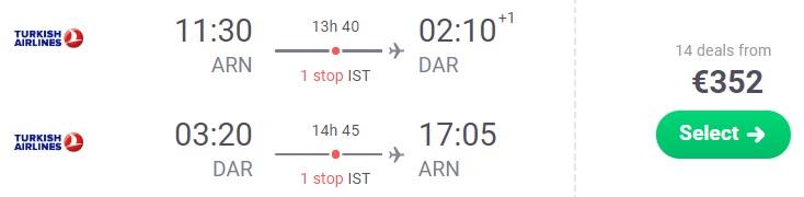 Cheap flights from Stockholm to TANZANIA Dar Es Salaam