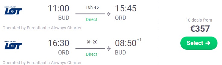 non stop flights budapest chicago usa