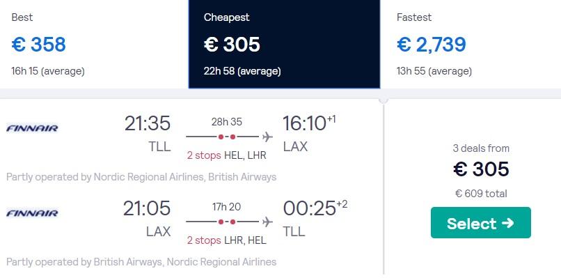 cheap flights tallinn los angeles