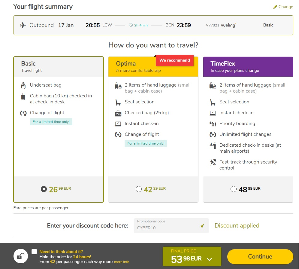 vueling cyber monday sale 2020
