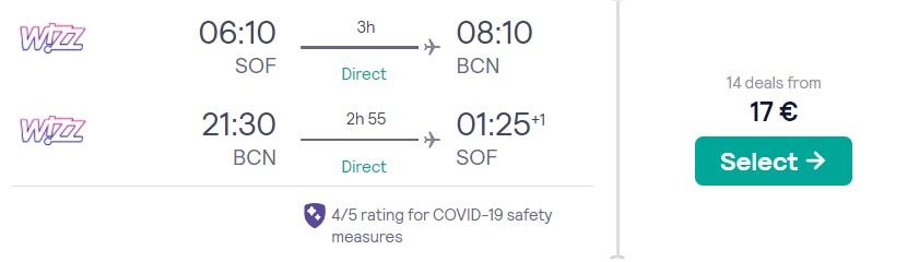 cheap flights sofia barcelona