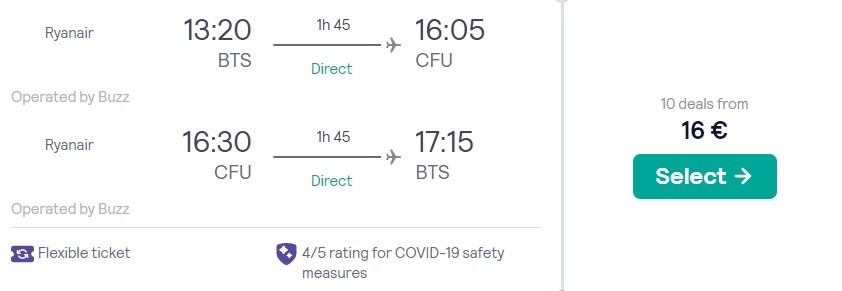 cheap flights bratislava corfu