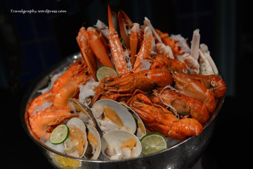 Seafood on Ice - Steamed Blue Crab, Boston Lobster, Poached, Tiger Prawns, Tasmanian Crayfish, Jumbo Bay Clams