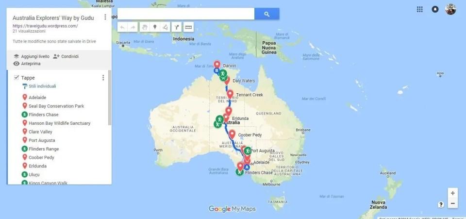 Mappa viaggio australia