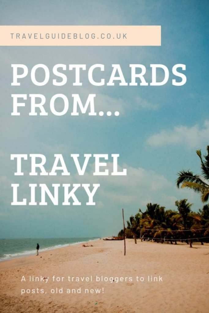 Postcards from Travel Linky Pinterest image of a beach