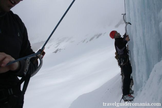 ice climbing in winter at Balea lake