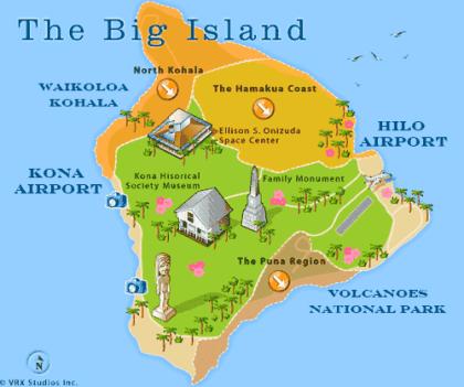 Big Island Resorts Hawaii Map For Visitors