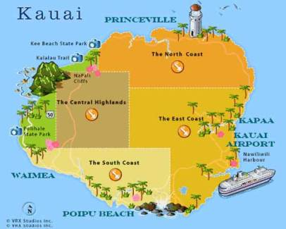 Map of Kauai Resorts Hawaii