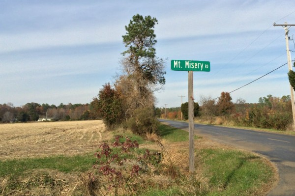 Mt Misery road sign