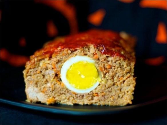 Meatloaf with hard-cooked egg inside.