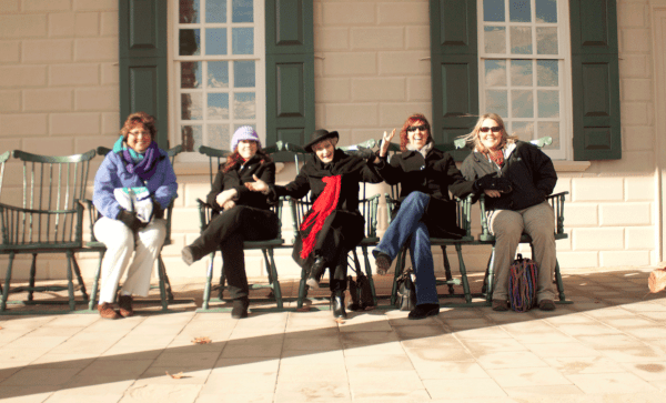 Travel Hags at Christmas at Mount Vernon on the back porch overlooking the Potomac River