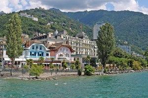 モントルー(スイス)、エデンパレスホテル、レマン湖より