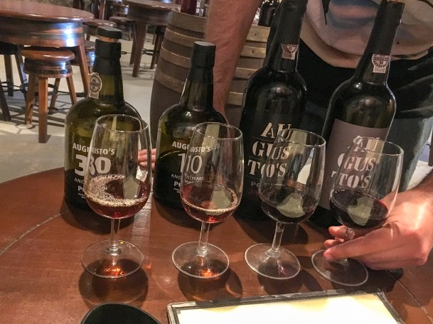 Tasting flight at Augusto's; Vila Nova de Gaia.