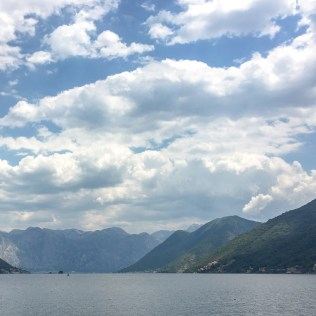 The waterfront village of Perast. View from across the bay.