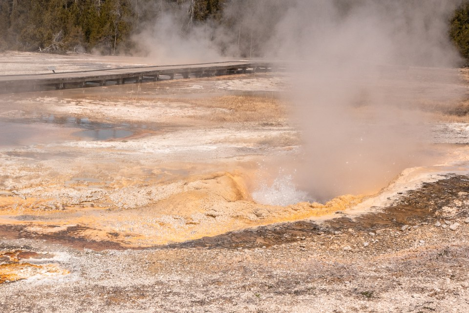 Yellowstone in April Upper Geyser Basin Pump Geyser