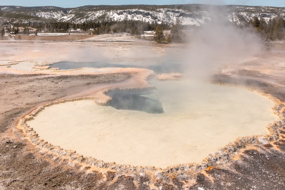 Yellowstone in April Upper Geyser Basin Doublet Pool