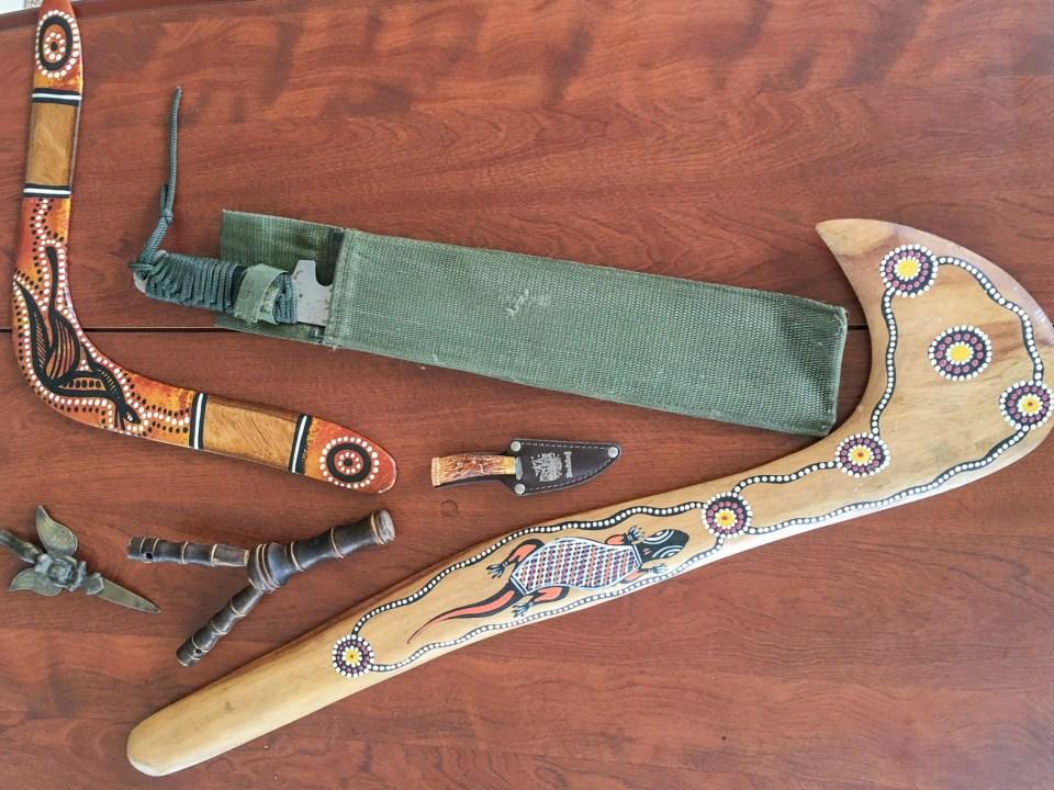 International weapons, left-handed boomerang, Shakti blade, slingshot, Slovenian dagger, nulla nulla, machete