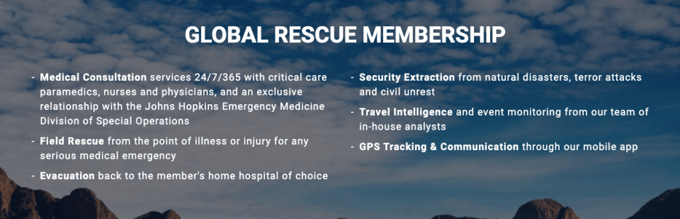 Global Rescue Memberships benefits summary, emergency evacuation coverage