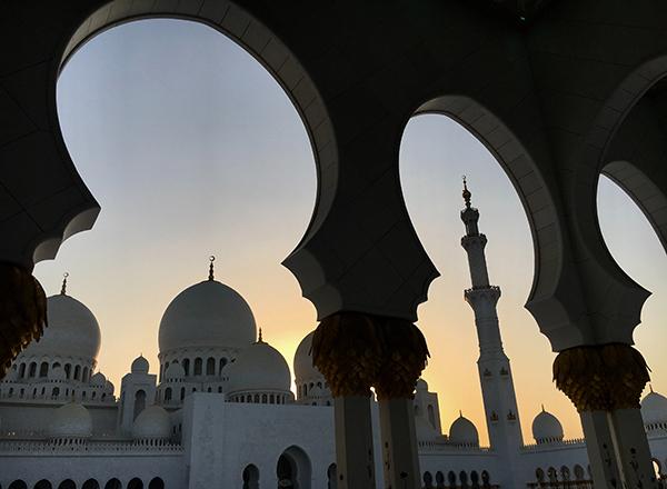 United Arab Emirates mosque at sunset