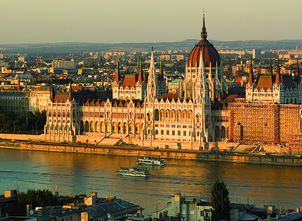 Sunset over the Hungarian Parliament building Danube River Budapest Hungray