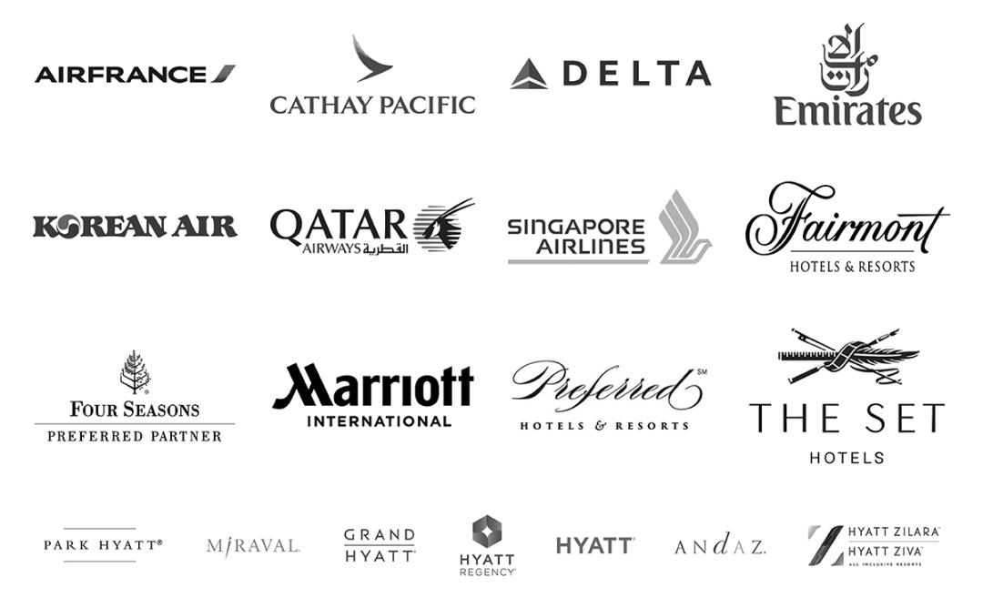 Logos for top airline and hotel companies