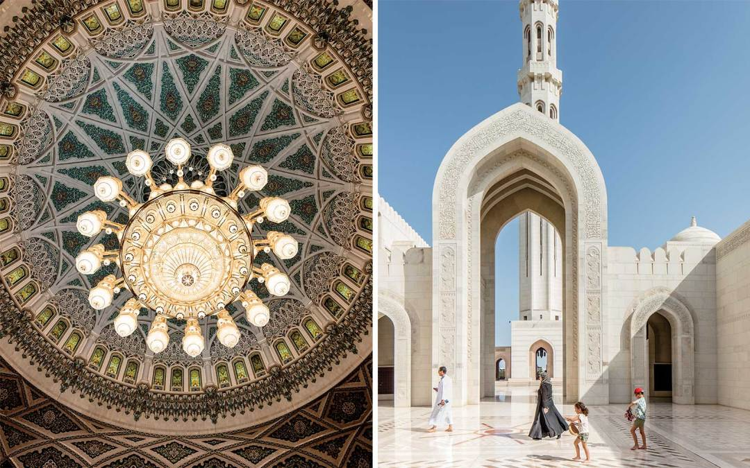 The tiled dome of Sultan Qaboos Grand Mosque, in Muscat; visitors walking through the mosque's courtyard.