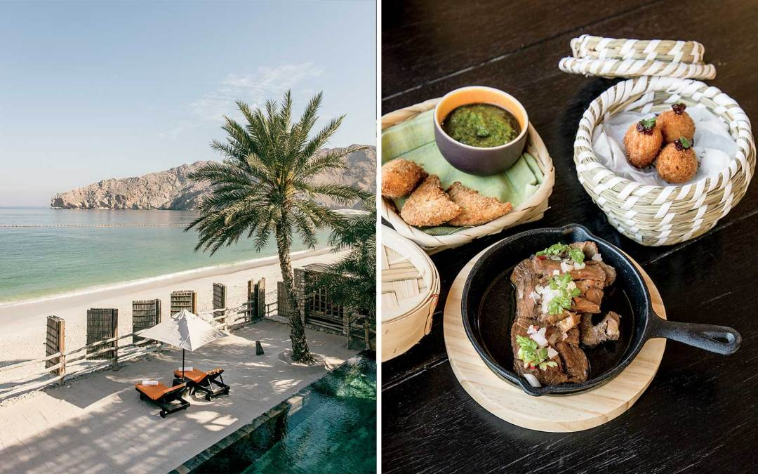 The beach at Six Senses Zighy Bay resort, Oman and middle eastern food
