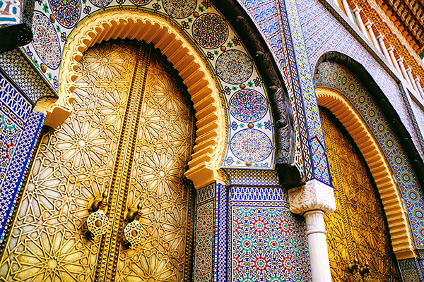 Beautiful mosaic door Royal Palace Rabat Morocco