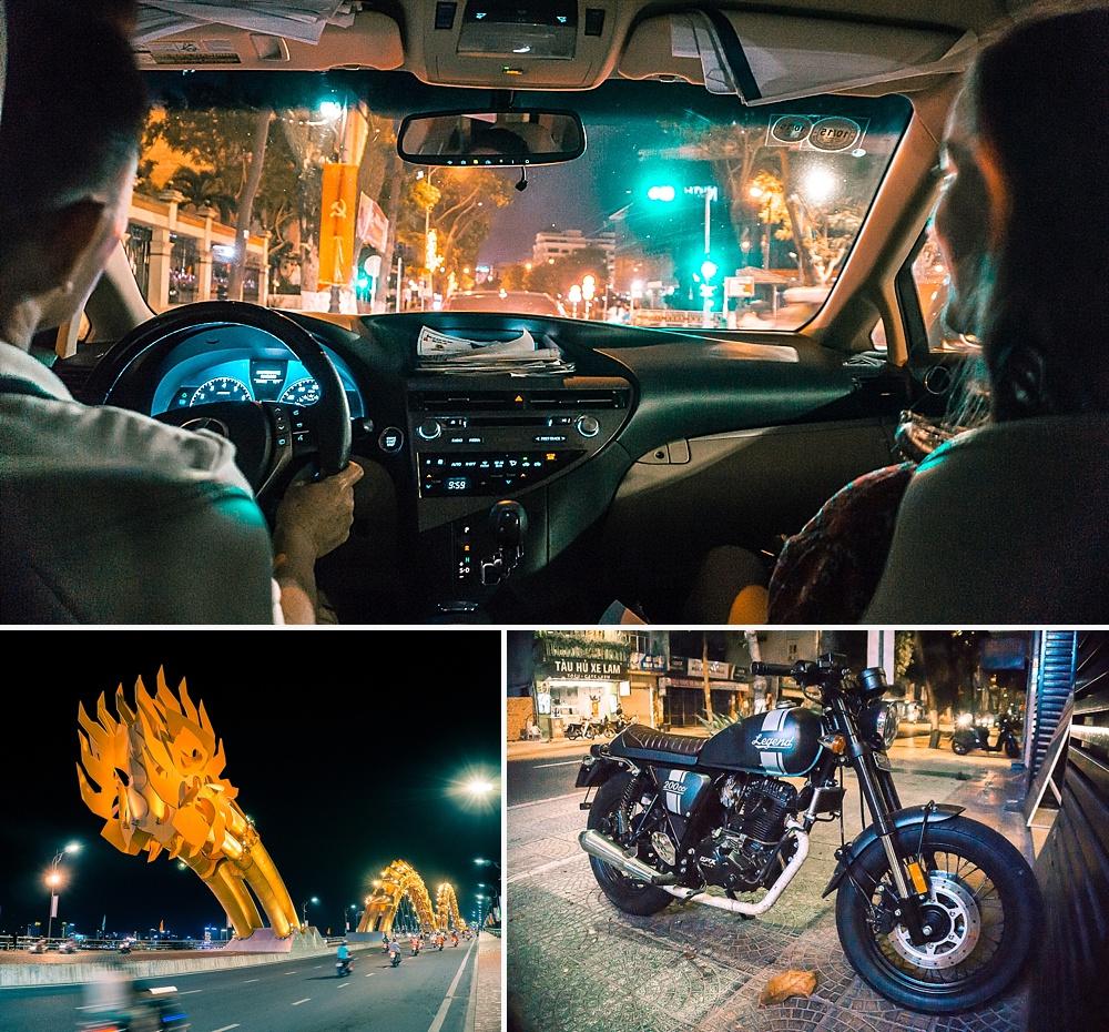 da nang dragon bridge nighttime