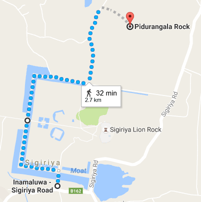 Sigiriya Pidurangala distance