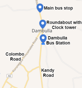 Dambulla bus stop map