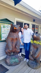 Carrie and I with the bears outside McCarthy's