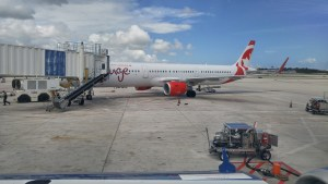 Close-up of the Rouge A321