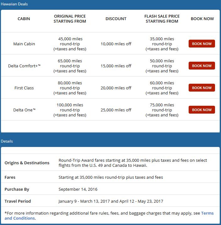 Promotion details from Delta.com
