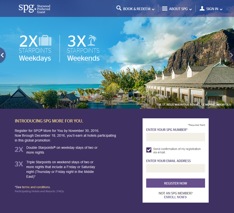 Starwood Preferred Guest (@spg): More For You Promotion Active
