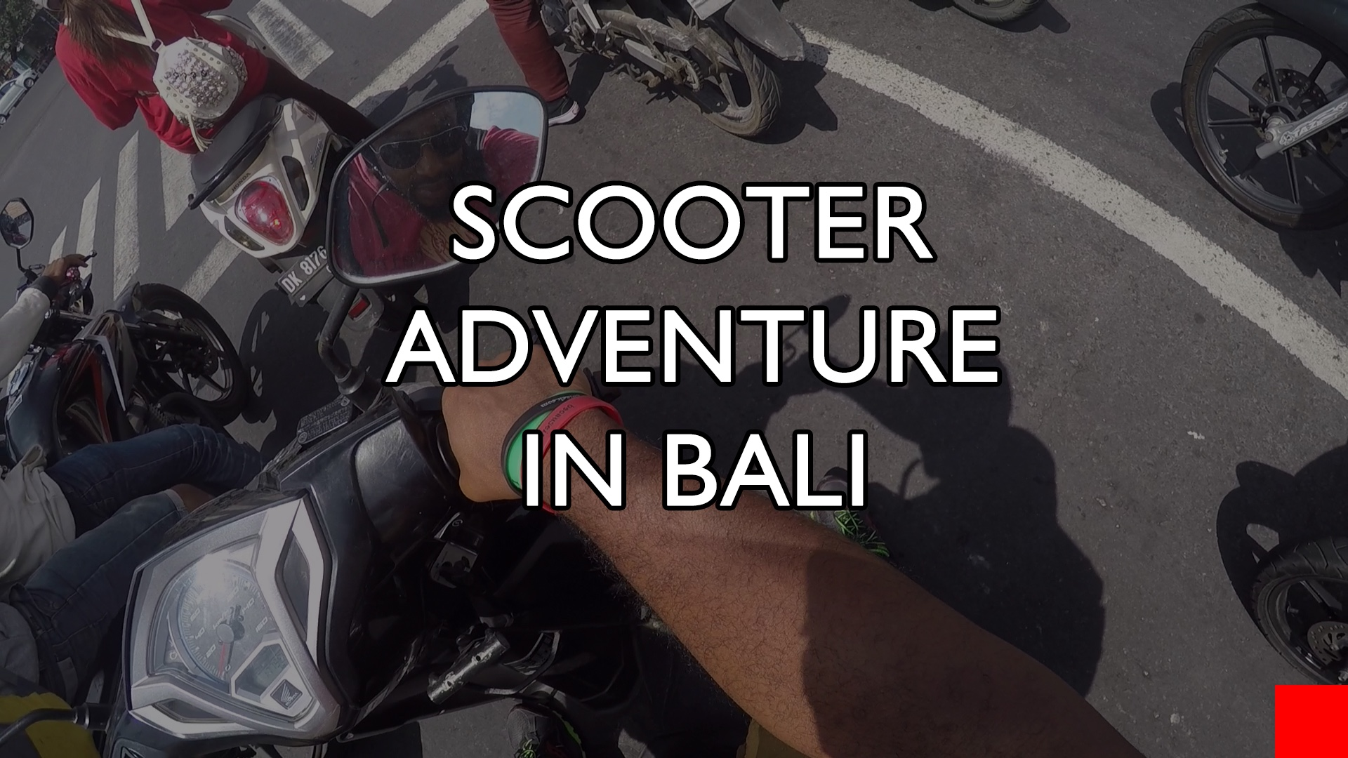 Riding scooters in Bali