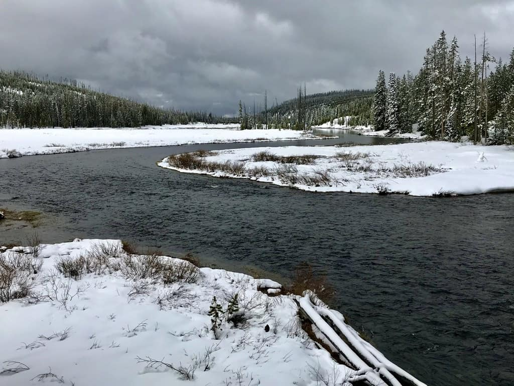 Yellowstone National Park after recent snowfall