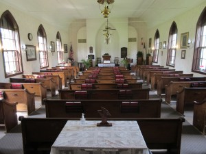 interior of little brown church