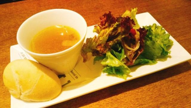 フレスキッシマのパスタセットのスープとサラダ