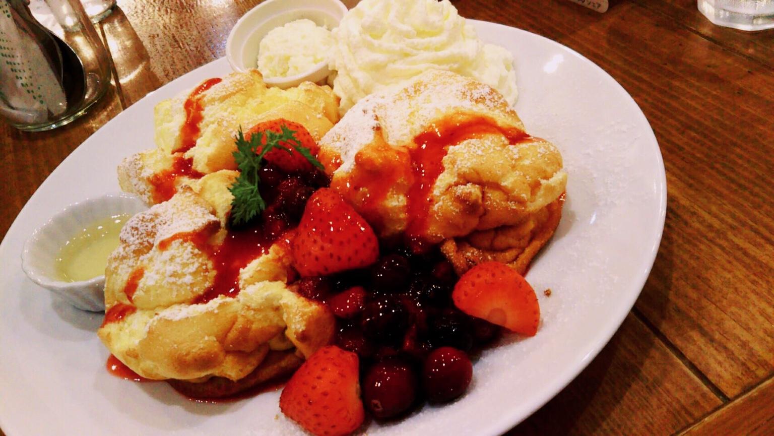 盛岡にあるカフェフラミンゴの可愛いパンケーキ!