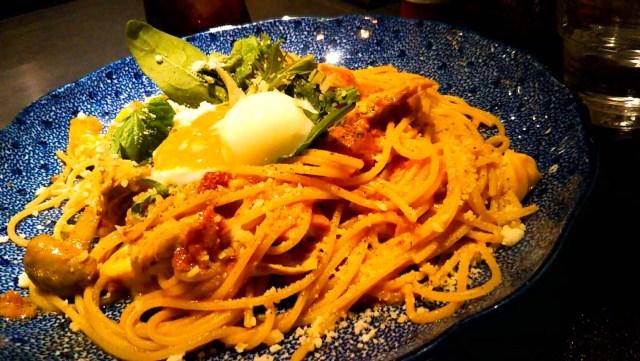 五右衛門のスパゲッティー「湯葉と海老とモッツァレラチーズのトマトクリーム温泉卵添え」