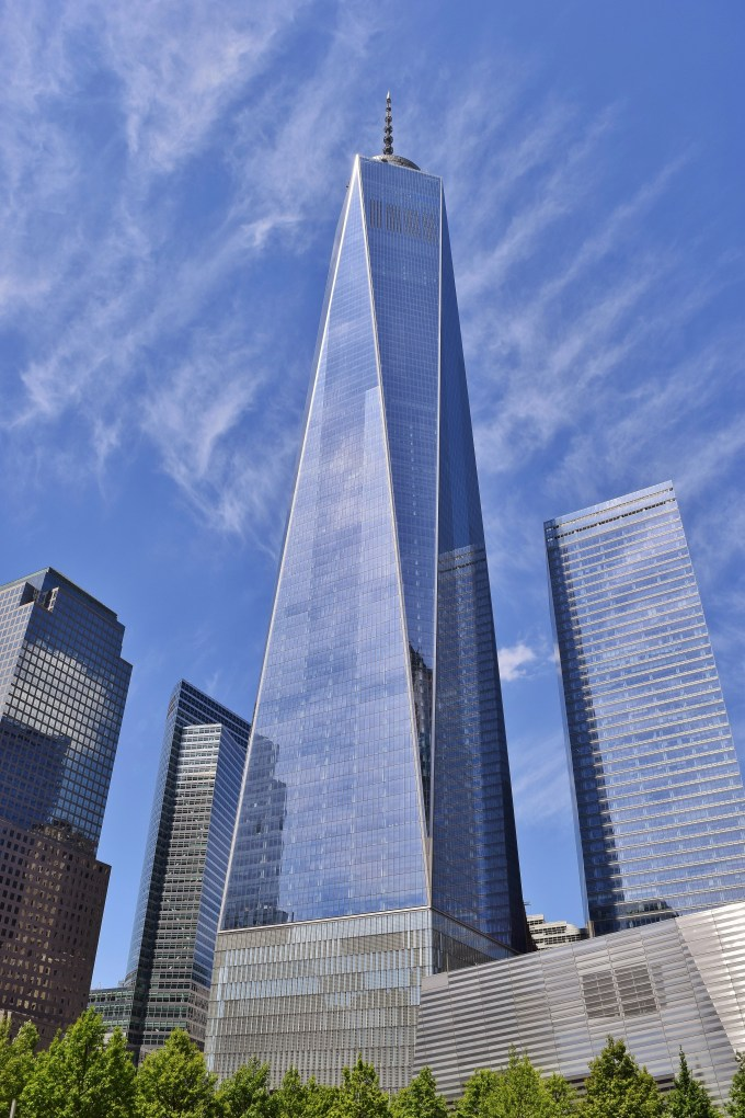 A vertical shot of the Freedom Tower in Lower Manhattan.