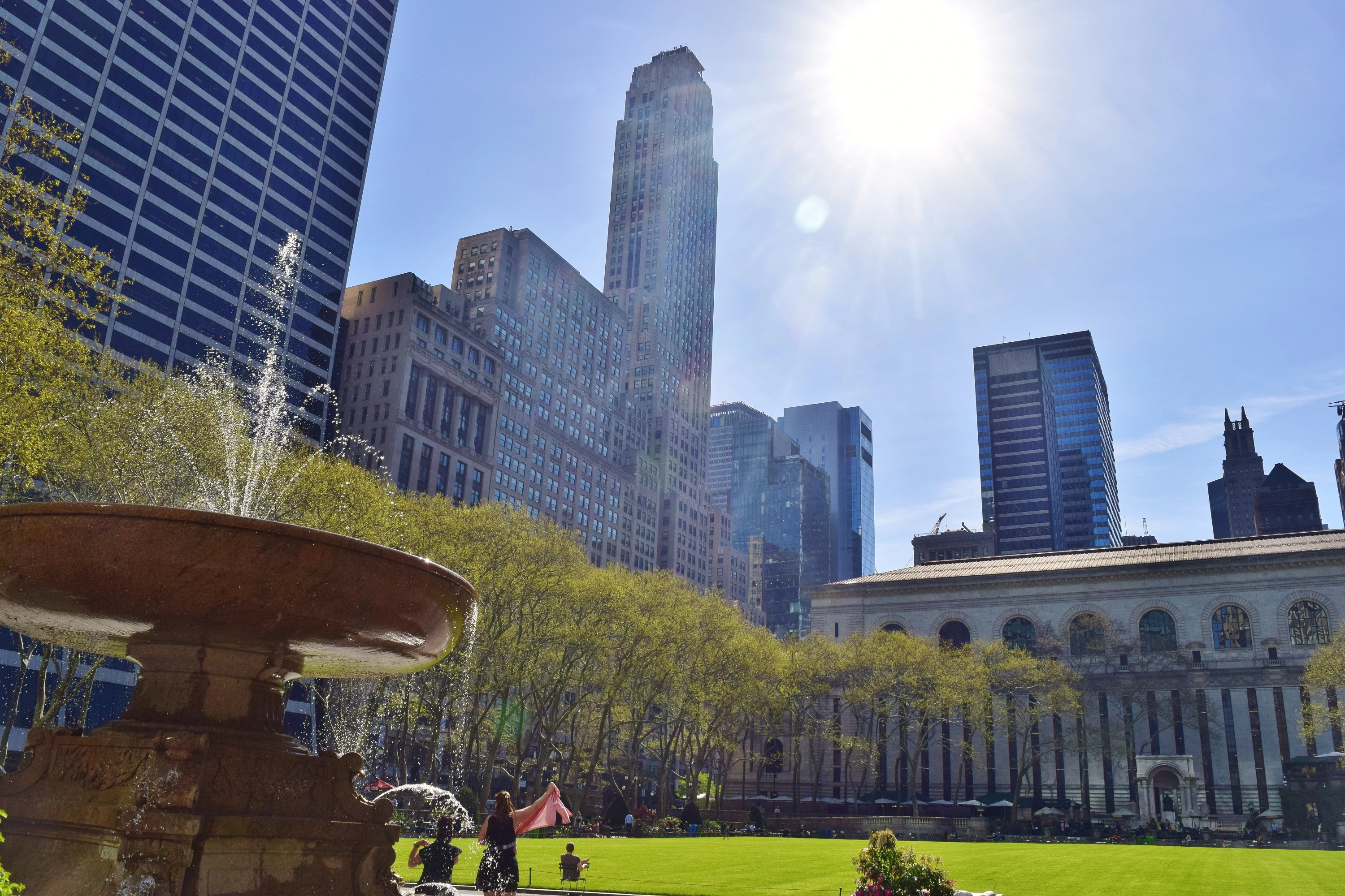 A shot of Bryant Park on a sunny day.