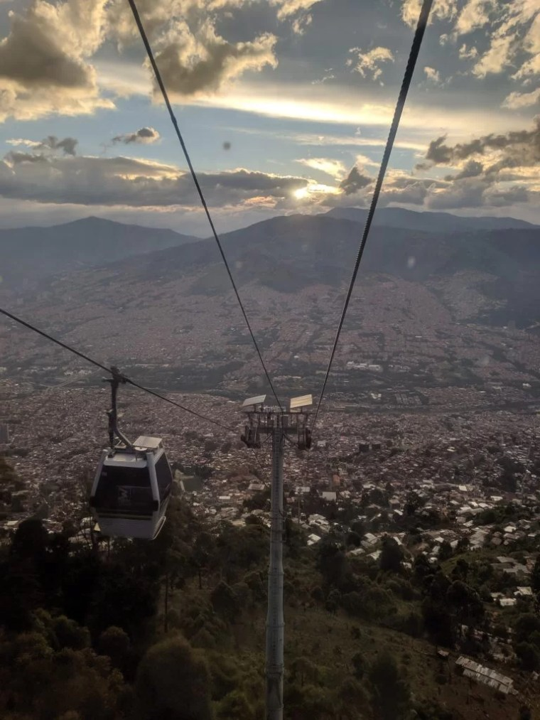 Sunset view from Metrocable car in Medellin, Colombia