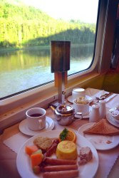 "Breakfast in the dining Car, Via Rail's ""The Ocean"" Montreal to Halifax"