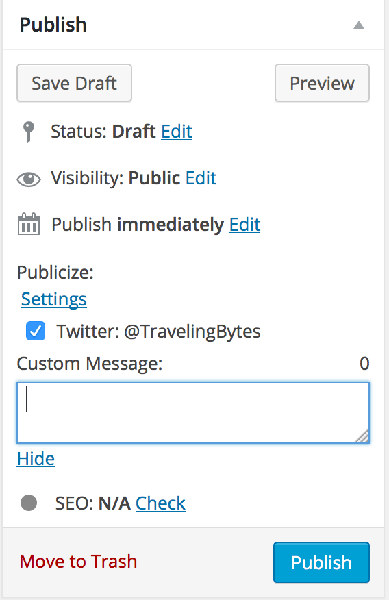 Publicize portion of Publish UI