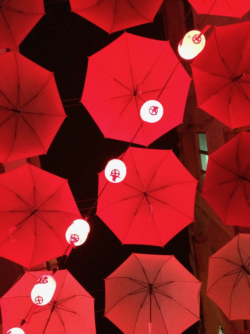 Chinese lanterns and red umbrellas