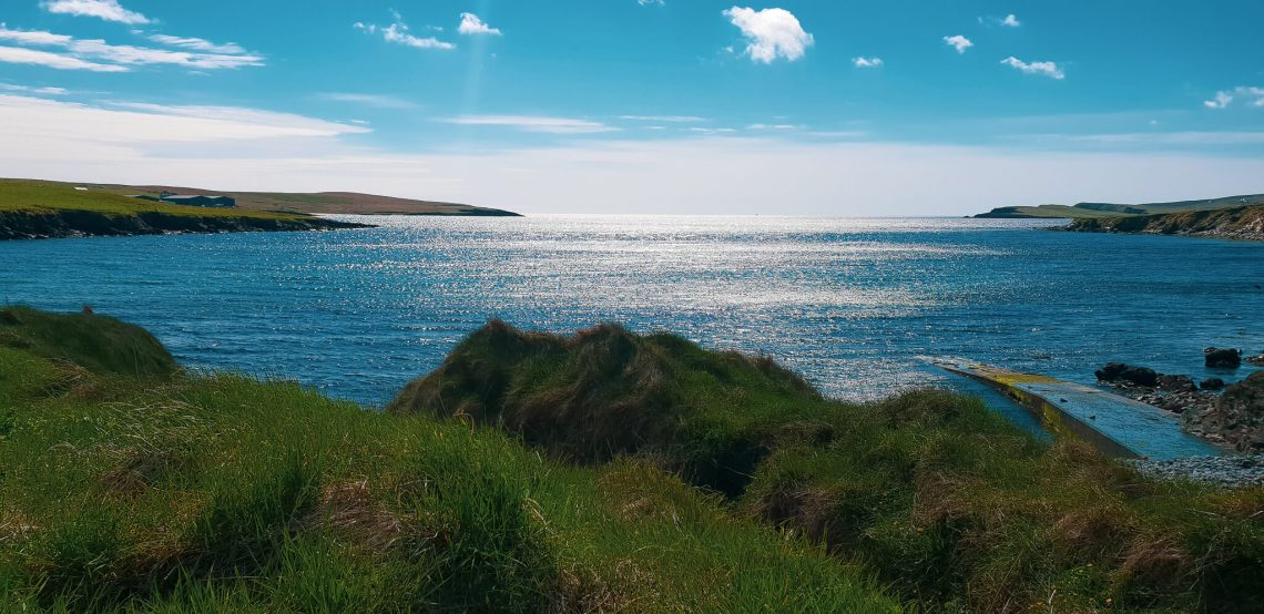 About me, view of sea and coastline in Shetland