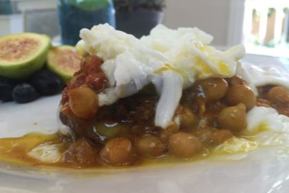 Curry & Harissa Chickpea and Poached Egg Skillet