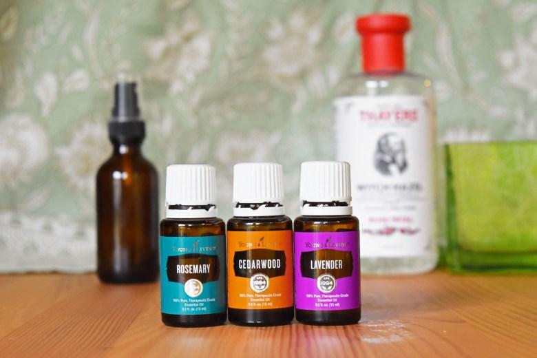 Hair growth spray using essential oils for postpartum hair loss